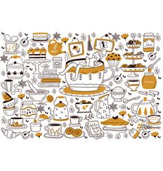 drinking tea doodle set vector image