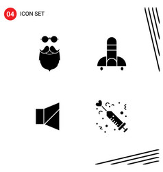 Editable line pack 4 simple solid glyphs of vector