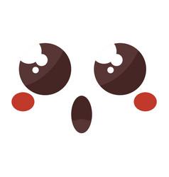 face emoticon kawaii style vector image