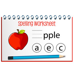 Find missing letter with an apple vector
