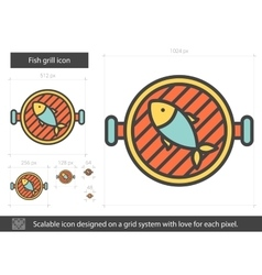 Fish grill line icon vector
