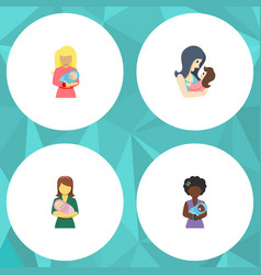 Flat icon mam set of woman kid newborn baby and vector