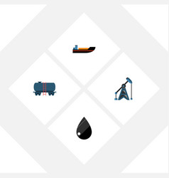 Flat icon petrol set of droplet container boat vector