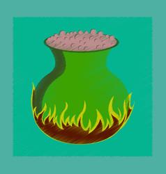 Flat shading style icon potion cauldron vector