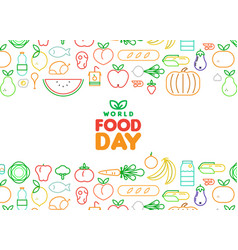 Food day card of outline fruit and vegetable icons vector