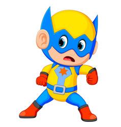 funny little power super hero child vector image