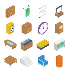 Furniture and interiors isometric pack vector