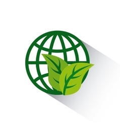 Global sphere with leaves icon vector