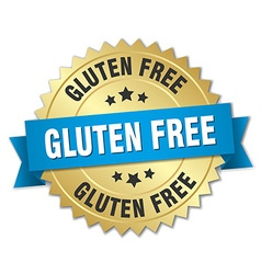 Gluten free 3d gold badge with blue ribbon vector