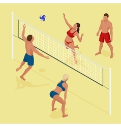 Group young Friends Playing Volleyball On Beach vector