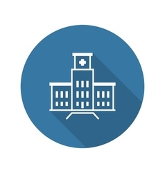 Hospital Complex Icon Flat Design Long Shadow vector