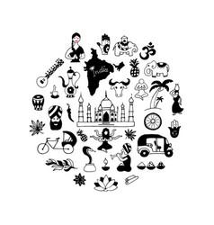 Indian icons circle set vector