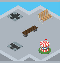 isometric city set of seat intersection bench vector image