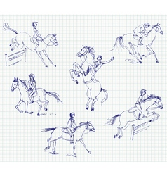 Jockey riding a horse Set Hand-drawn vector image
