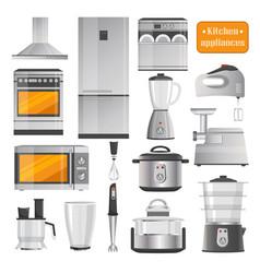 Kitchen electric appliances big set vector