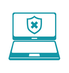 laptop computer with security symbol vector image