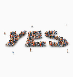 Large group people in form word yes vector