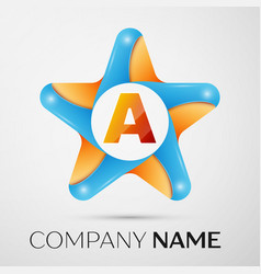 letter a logo symbol in the colorful star on grey vector image