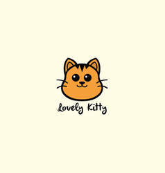 lovely kitty cute cat logo design vector image