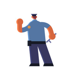 male police officer holding hand with stop gesture vector image