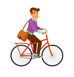 man in modern clothes with big leather bag rides vector image