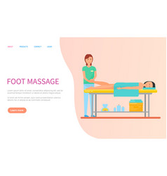 Masseuse making foot relaxation massage vector