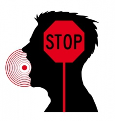 men screaming stop sign vector image