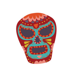 mexican sugar skull with colorful pattern dia de vector image
