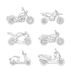 Motorcycle and scooter line icons set vector