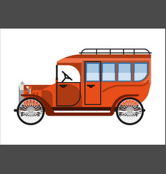 Old car or vintage retro collector coach bus vector