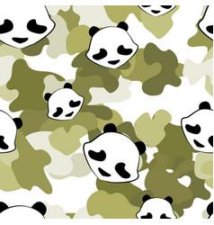 panda bear cute camouflage animal seamless pattern vector image