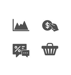 payment discounts and diagram icons shop cart vector image
