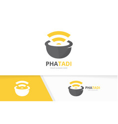 Pharmacy and wifi logo combination pounder vector