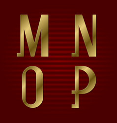 presentable gold font m n o p isolated letters vector image