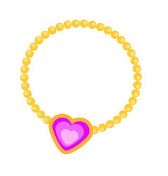 Princess necklace with heart vector