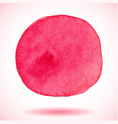 Red isolated watercolor paint circle vector image