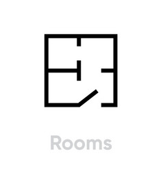 rooms scheme icon editable stroke vector image