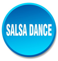 Salsa dance blue round flat isolated push button vector