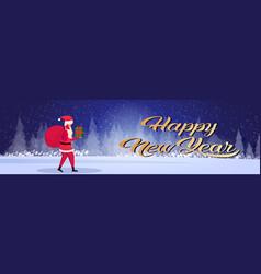 santa claus carrying gift box sack happy new year vector image