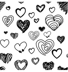 seamless pattern various heart design vector image