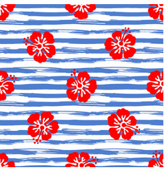 Seamless pattern with hibiscus flowers on striped vector