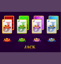 set four jacks playing cards suits for poker vector image