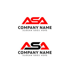 Set initial letter asa logo template design vector