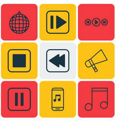 Set of 9 multimedia icons includes audio buttons vector