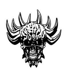 skull of a demon with crown of thorns vector image