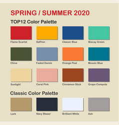 Spring summer 2020 trendy color palette fashion vector