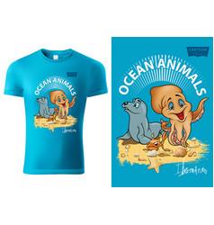 T-shirt design with ocean animals vector