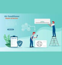 Technician fixing air conditioner vector