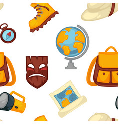 traveling and adventures symbols set boots and vector image