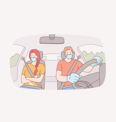 traveling using taxi wearing face mask during vector image
